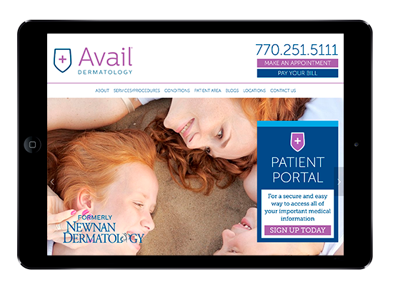 AvailDermatology.com on an iPad