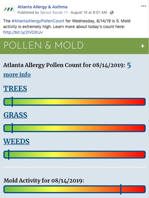 Second screenshot of an Atlanta Allergy Mold social post.