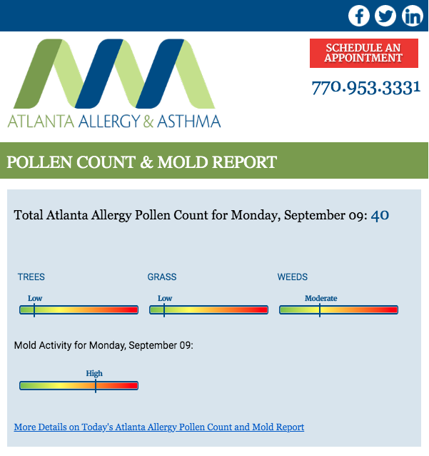 Top half of Atlanta Allergy's newsletter.