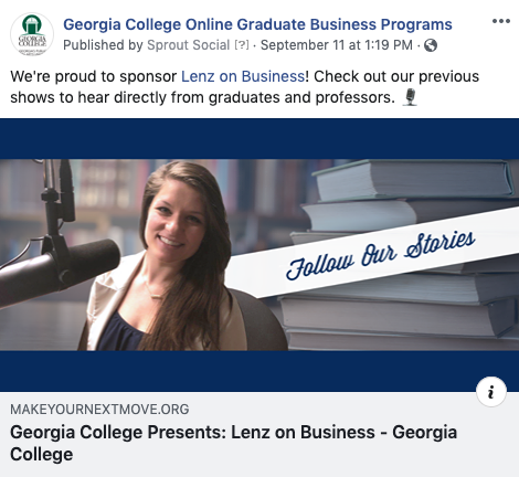 Screenshot of Georgia College social promoting the radio pages.
