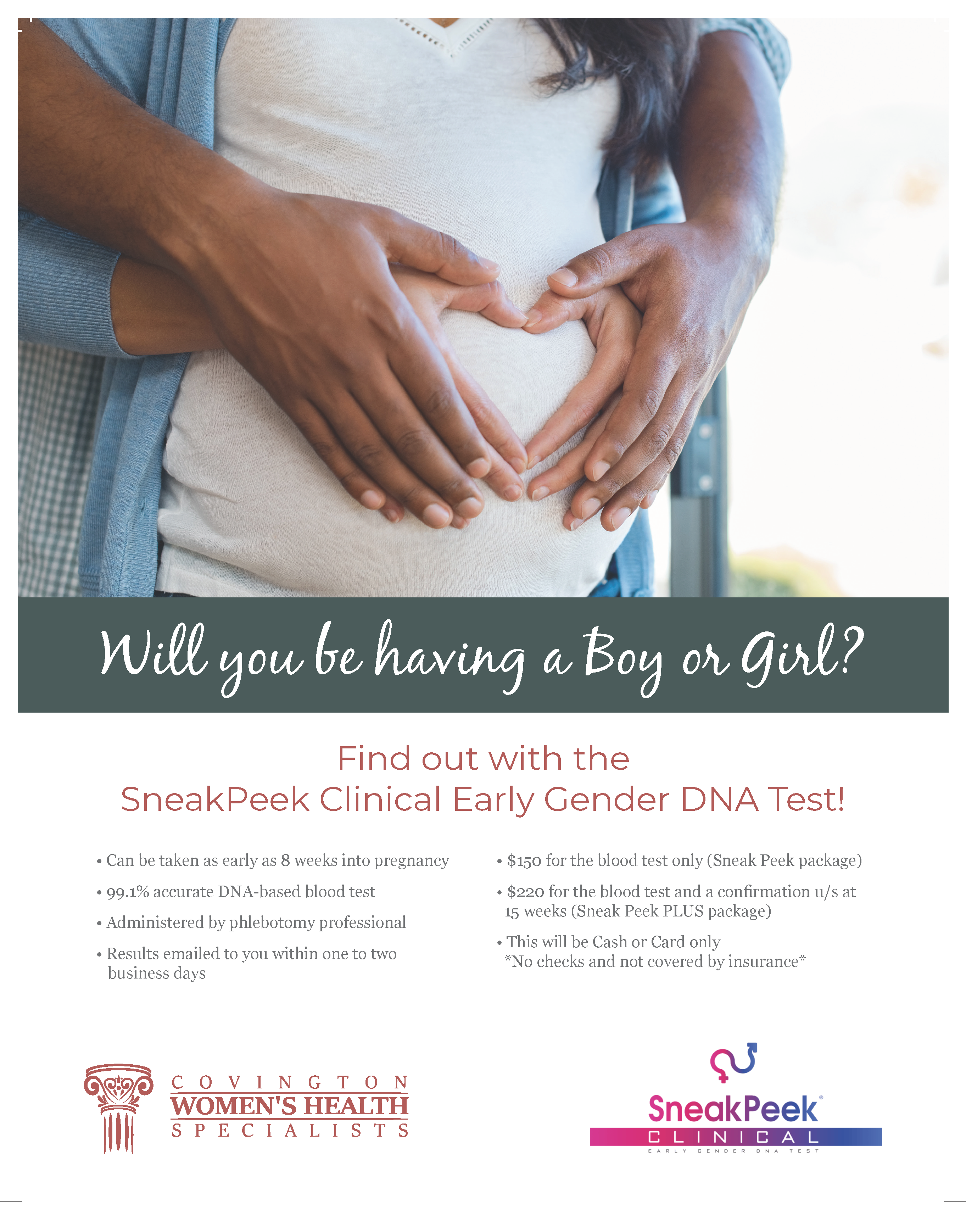 Flyer one of Covington Women's Health gender reveal service.