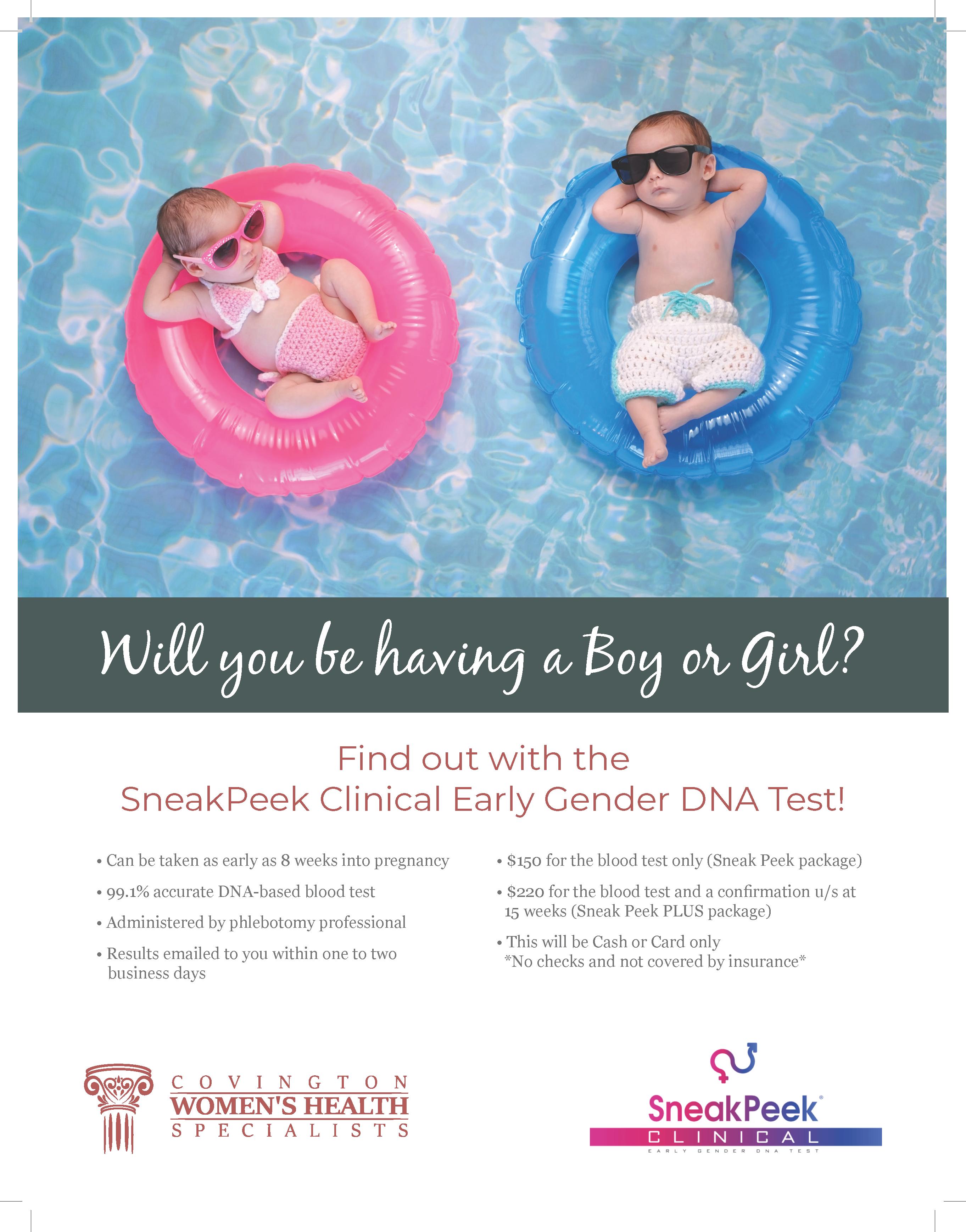 Flyer two of Covington Women's Health gender reveal service.