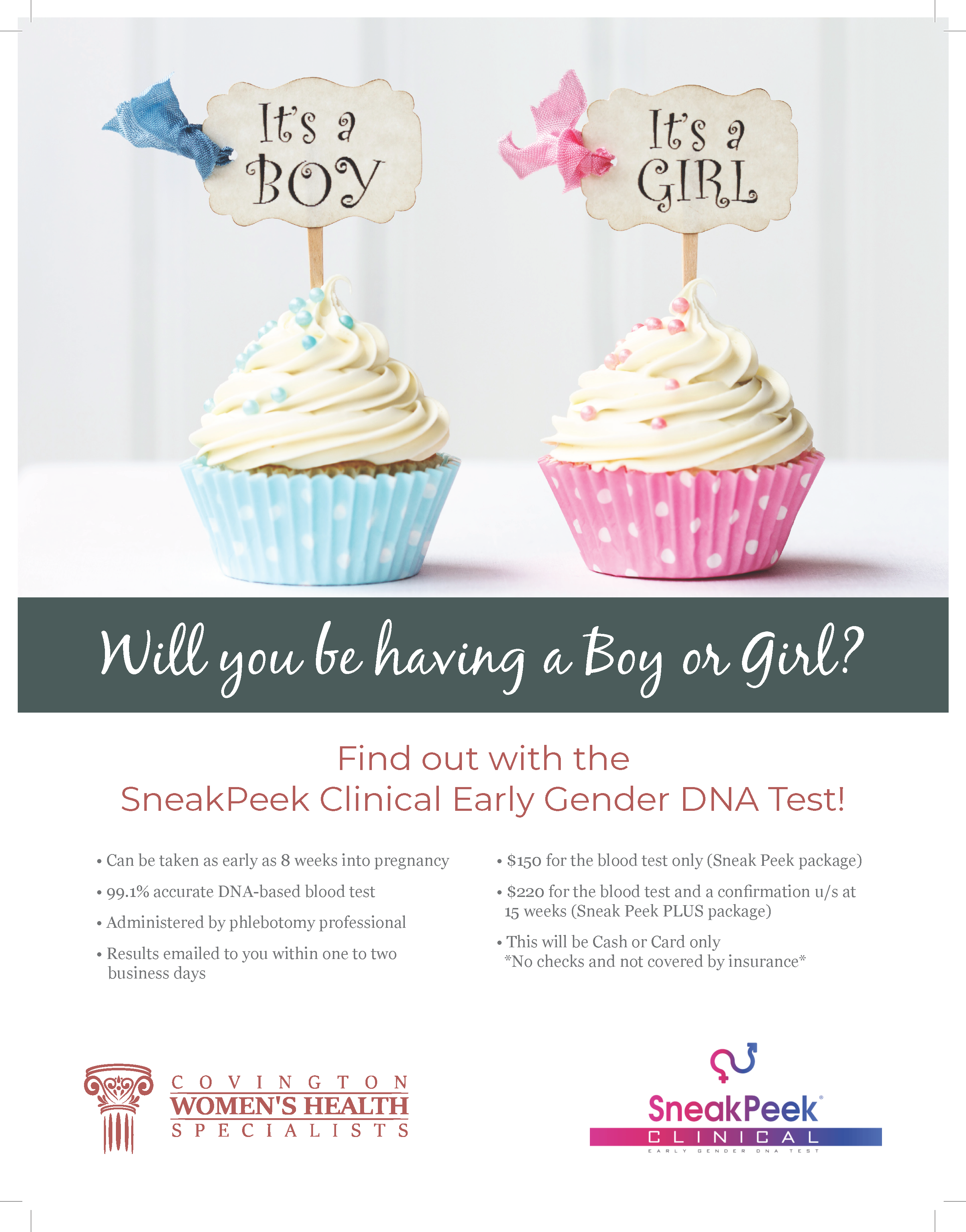 Flyer three of Covington Women's Health gender reveal service.