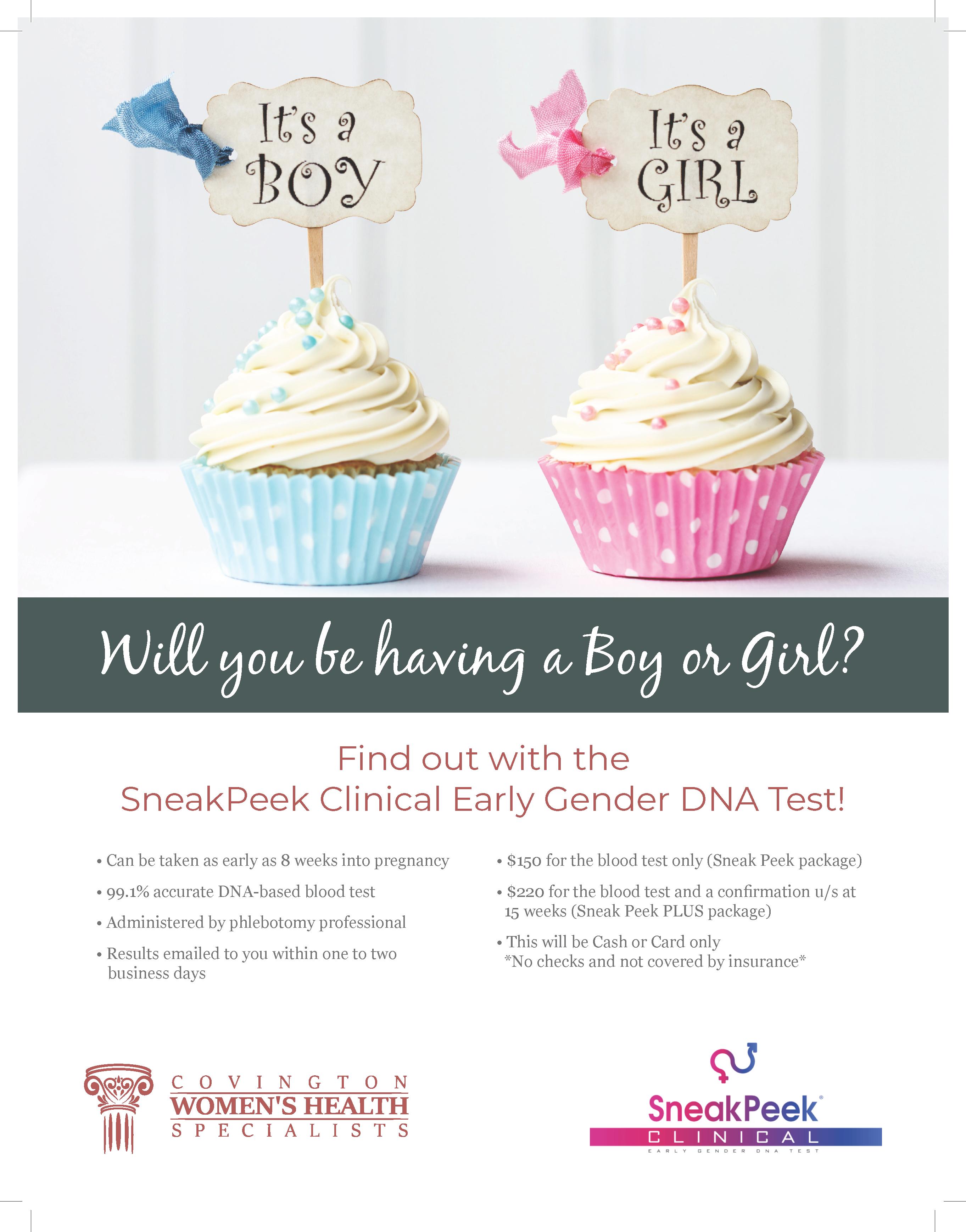 Flyer three of Covington Women's Health gender reveal service.