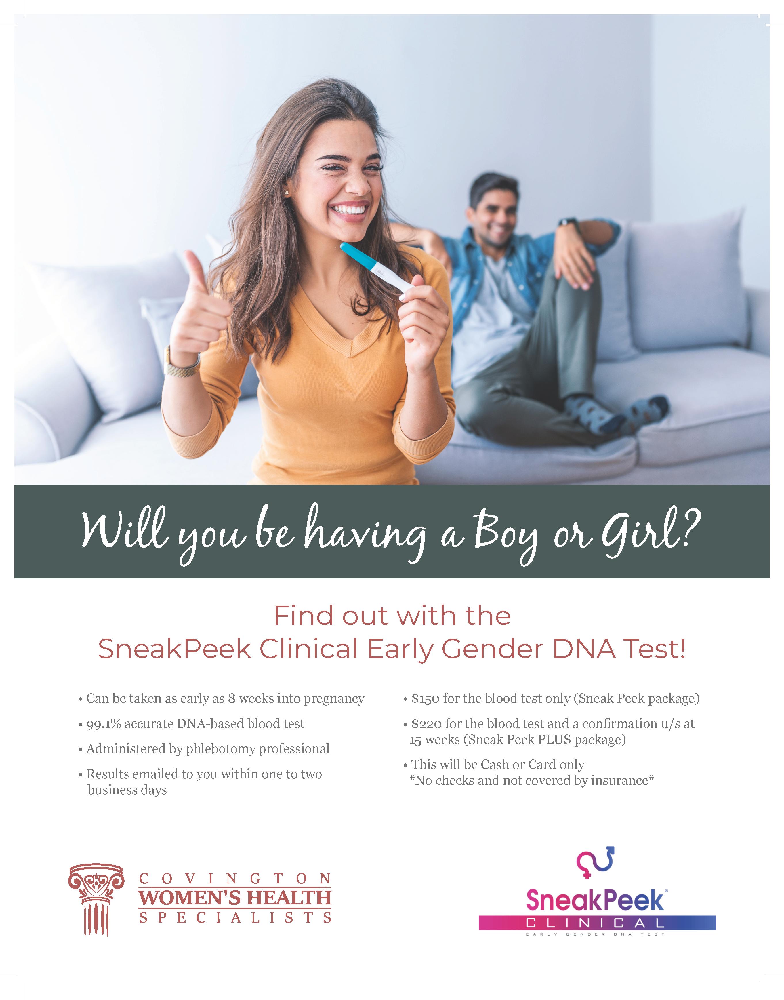 Flyer five of Covington Women's Health gender reveal service.