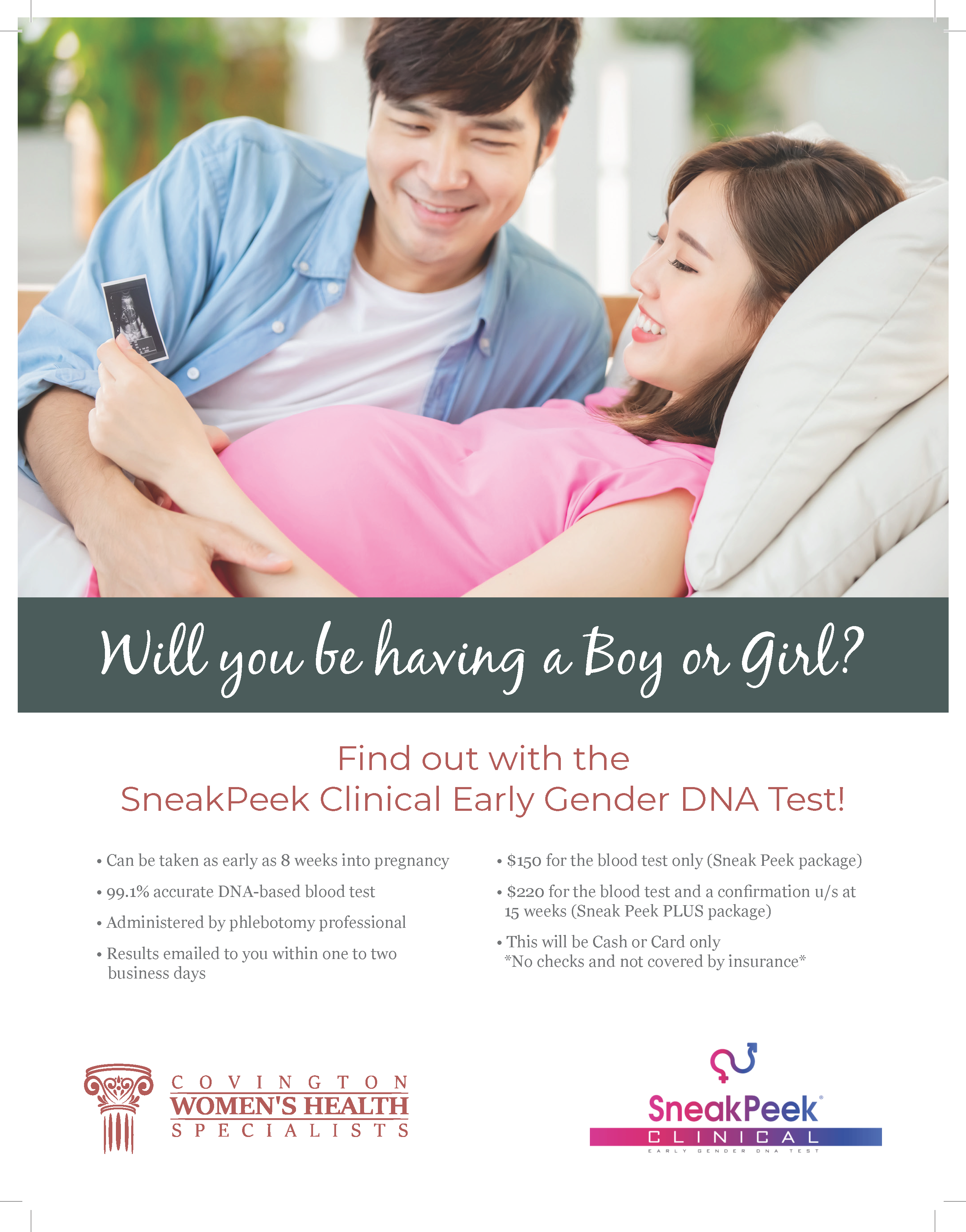 Flyer four of Covington Women's Health gender reveal service.