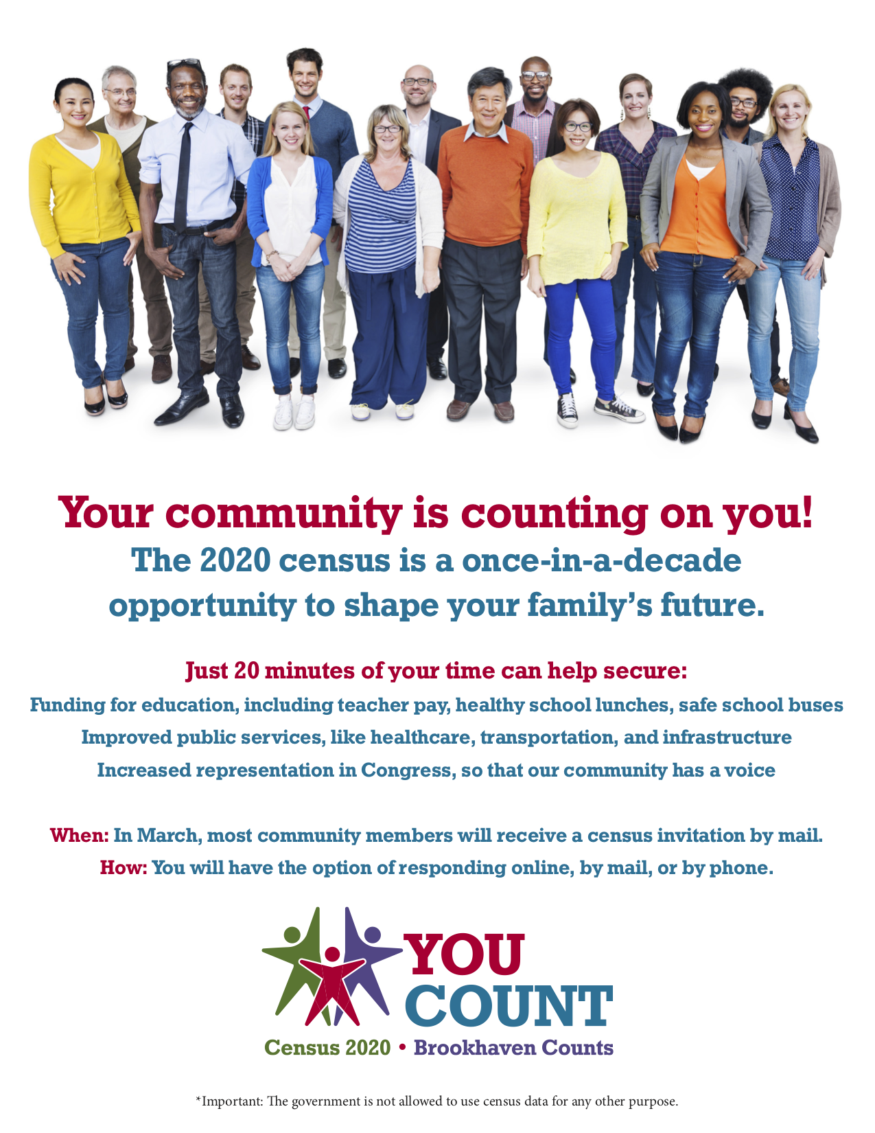 Flyer Lenz Created for the Brookhaven Census. It has a stock image of a diverse crowd of people standing together. The text is information about the census and it's importance.
