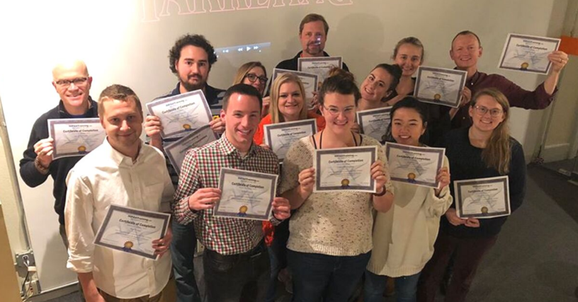 group shot of Team Lenz with their HIPAA certifications