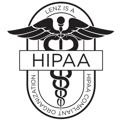 Logo with the healthcare logo with HIPAA in front, sayins Lenz is a HIPAA compliant organization.