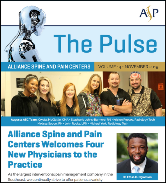 Screenshot of the employee newsletter Lenz created for Alliance Spine and Pain Centers.