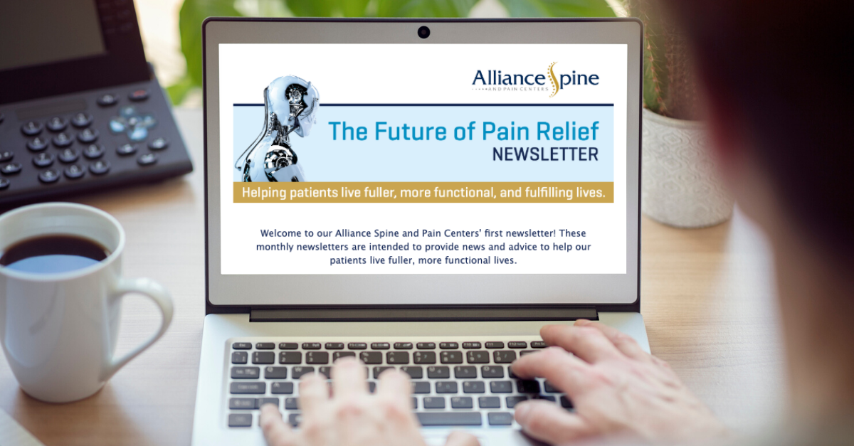 Laptop screen featuring Alliance Spine and Pain Centers newsletter