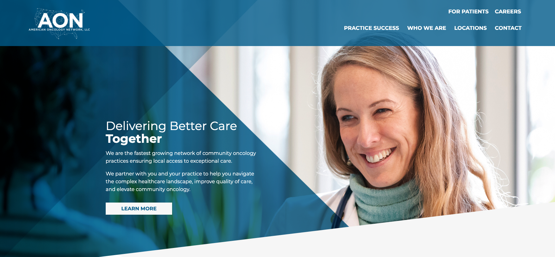 Screenshot of the American Oncology Network website.