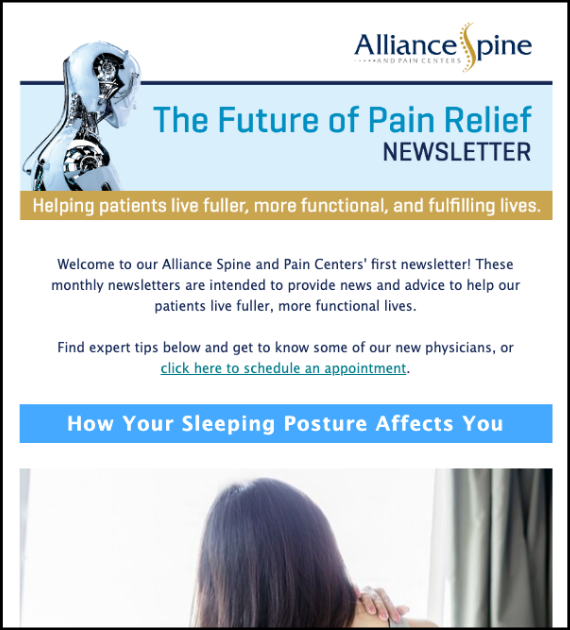 Screenshot of the patient newsletter Lenz created for Alliance Spine and Pain Centers.