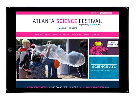 Horizontal iPad view of AtlantaScienceFestival.org homepage