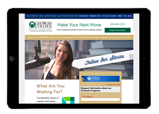 Horizontal iPad view of MakeYourNextMove.org, Georgia College of Business website