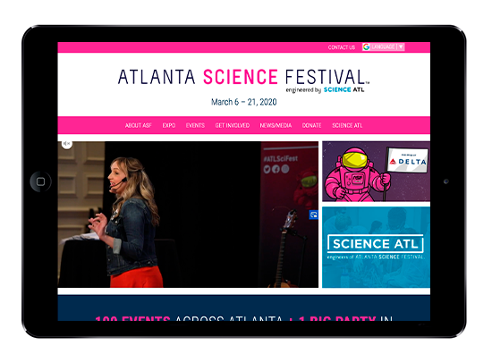 iPad view of the Atlanta Science Festival website, AtlantaScienceFestival.org