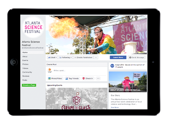 iPad view of the Atlanta Science Festival Facebook page