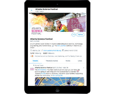 Vertical iPad view of Atlanta Science Festival page on Twitter