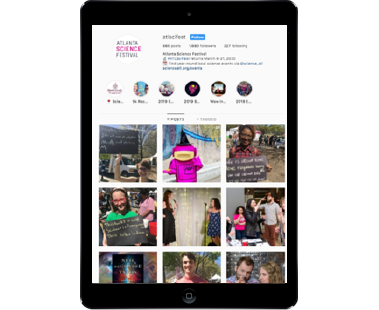 Vertical iPad view of Atlanta Science Festival account on Instagram