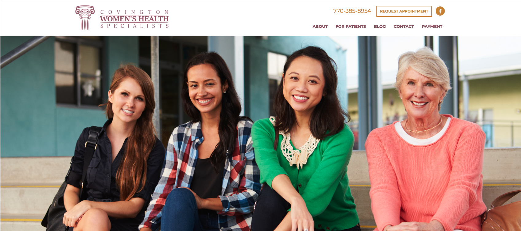 Covington Women's Health website screenshot.