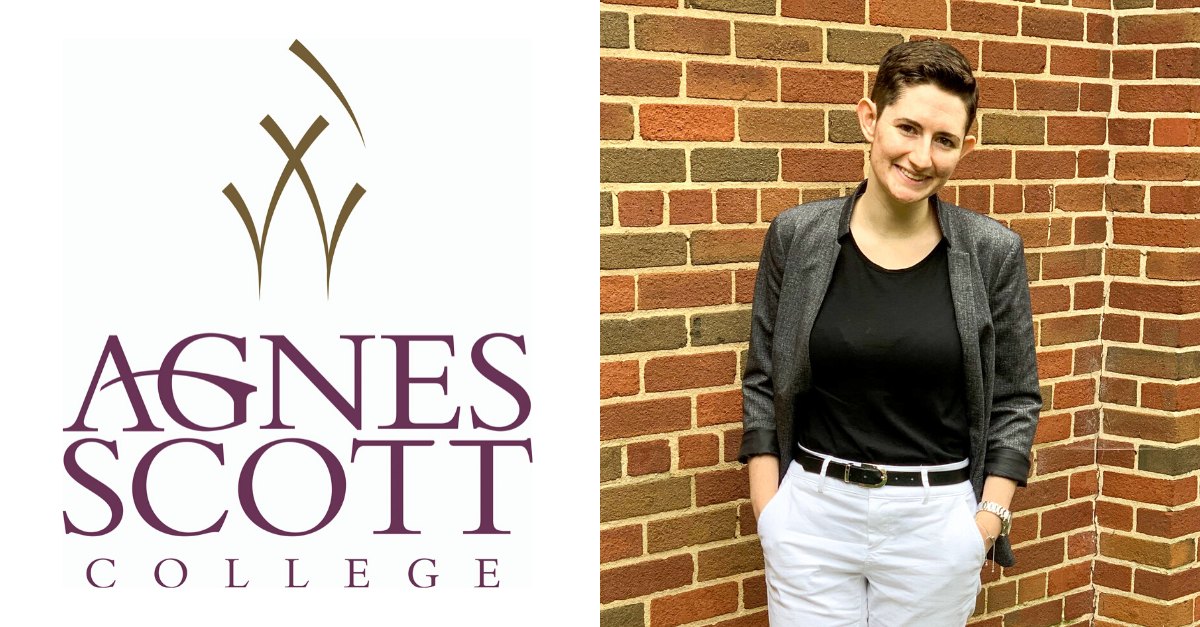 A graphic with Rae standing in front of a brick wall at Agnes Scott with the Agnes Scott logo to her left.