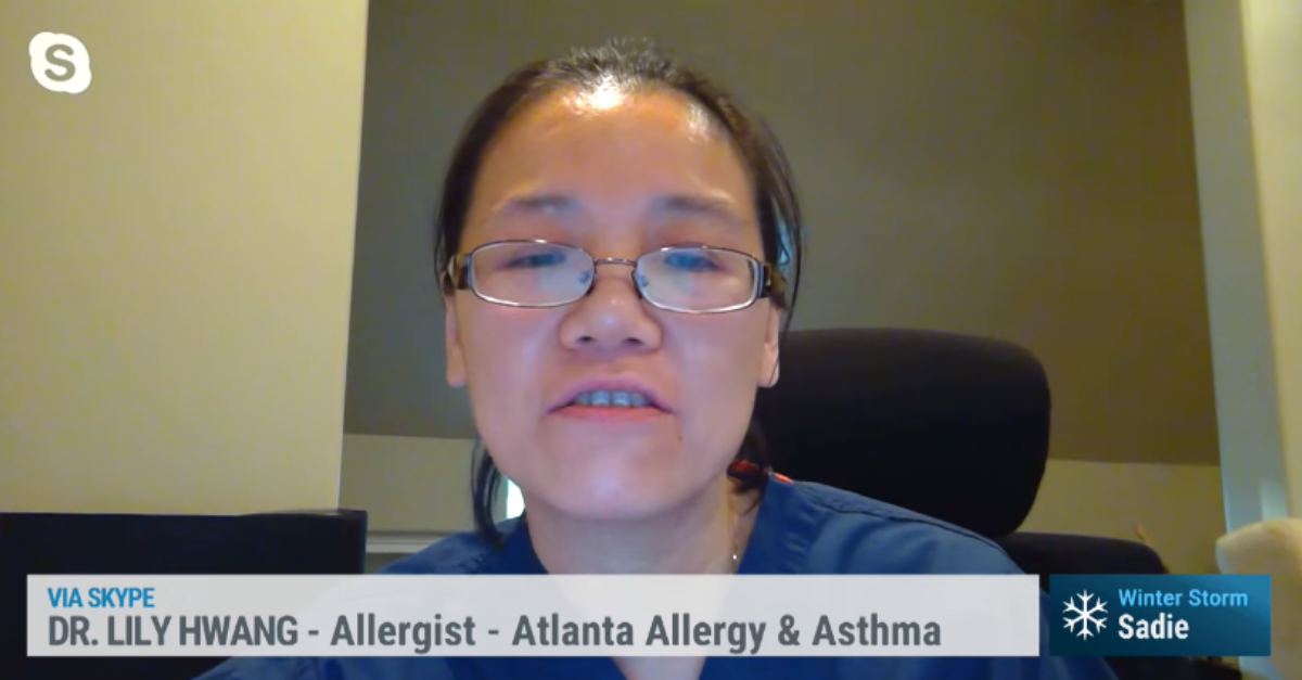 Photo of Atlanta Allergy Physician on Weather Channel interview.
