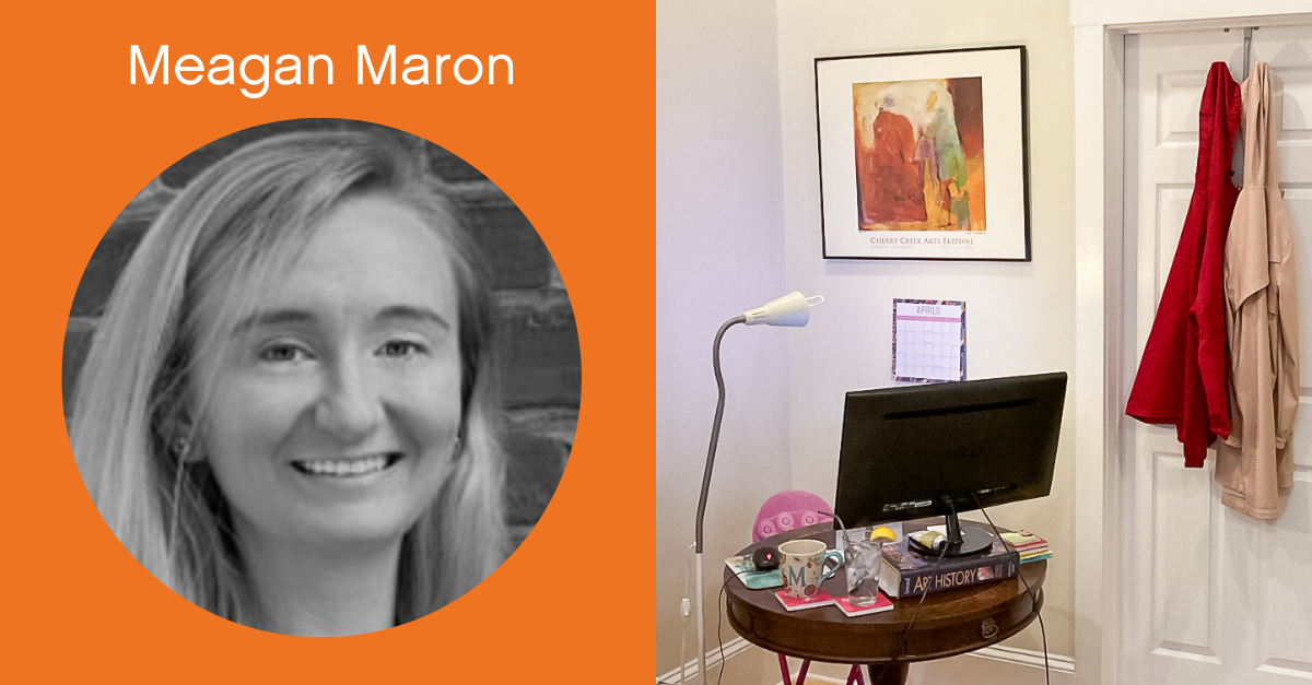 Headshot of Meagan Maron with a screenshot of her work from home office.