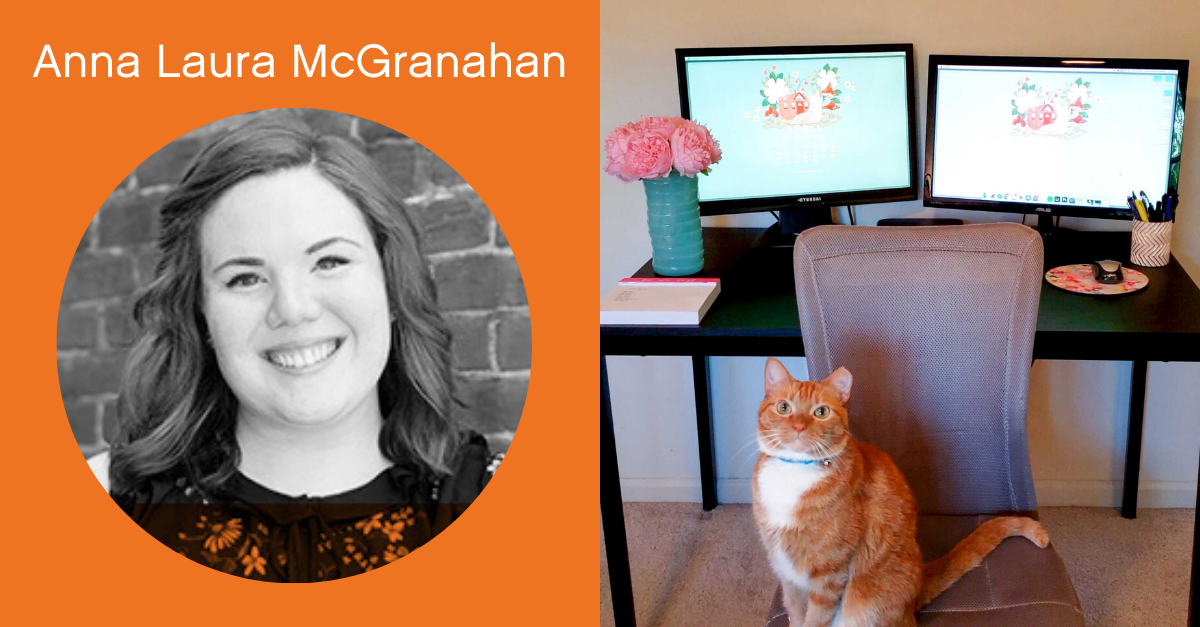 Headshot of Anna Laura McGranahan with a screenshot of her work from home office.