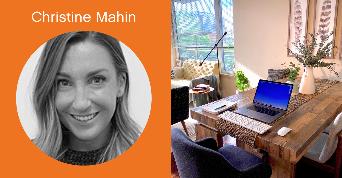 Headshot of Christine Mahin with a screenshot of her work from home office.