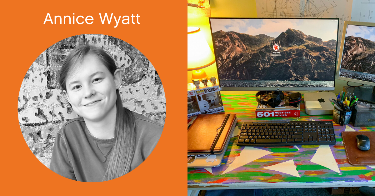 Headshot of Annice Wyatt with a screenshot of her work from home desk.