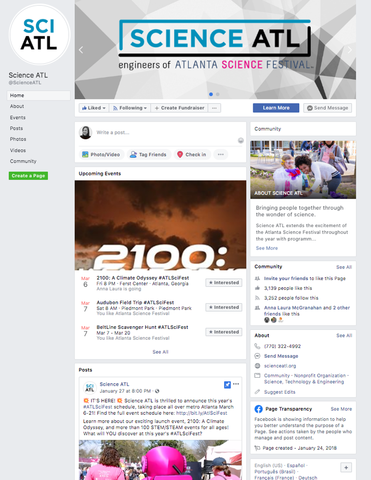 Screenshot of Science ATL Facebook.