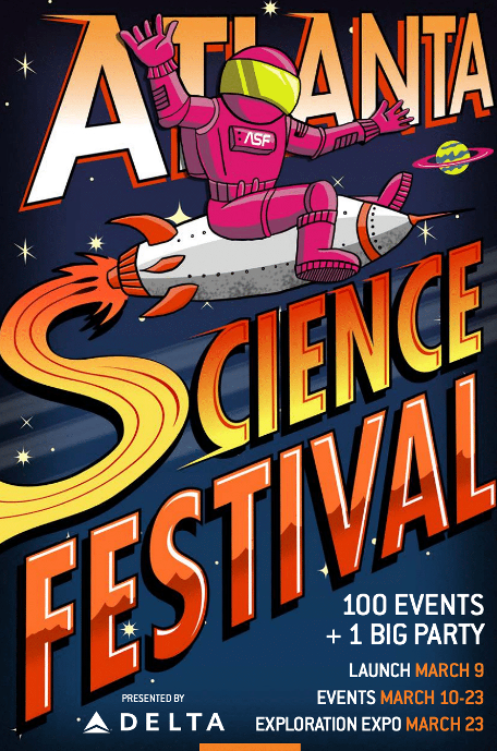 Photo of the 2019 update to the Atlanta Science Festival poster.