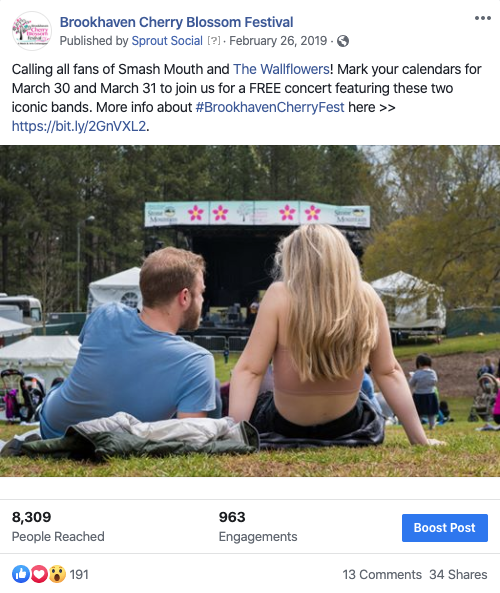 Screenshot of Brookhaven Cherry Blossom Festival social post two