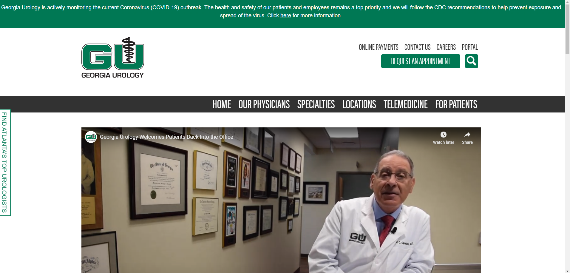 Screenshot of Georgia Urology website.