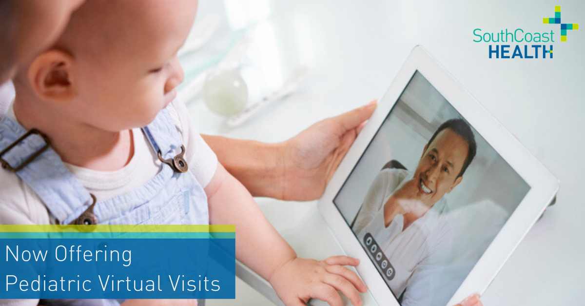 Screenshot of the graphic for Virtual Visits for SouthCoast Health that Lenz designed.