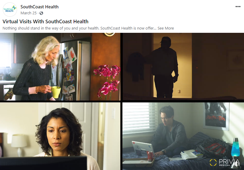 Screenshot of the Facebook campaign for SouthCoast Health's virtual visits.