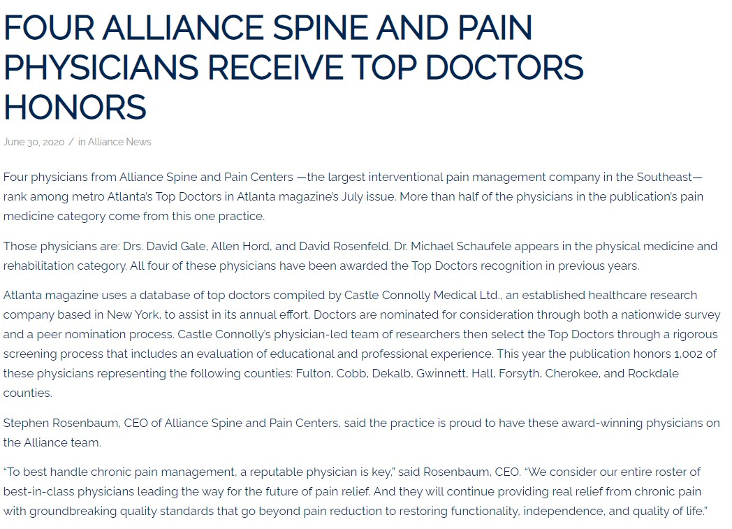 Screenshot of blog for Alliance Top Docs Announcement