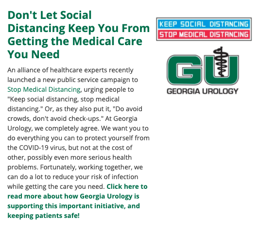 Screenshot of Georgia Urology newsletter for Stop Medical Distancing campaign.