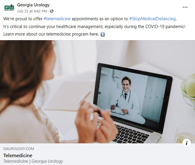 Screenshot of Georgia Urology social media telemedicine post.