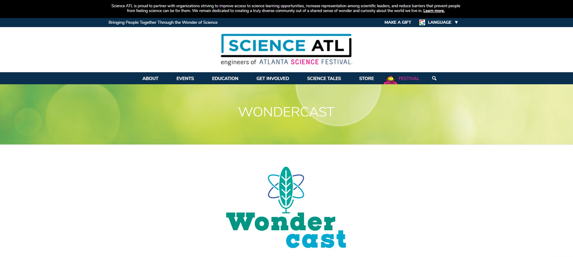 Screenshot of Science ATL Wondercast Website